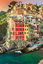 Preview iPhone wallpaper Riomaggiore, Italy, houses, sea, coast, village