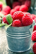 Preview iPhone wallpaper Ripe raspberry, red berries, bucket