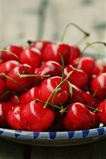 Preview iPhone wallpaper Ripe red cherry, delicious fruit