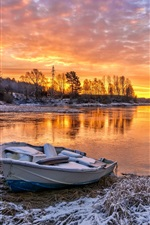 River, boat, trees, snow, clouds, red sky, sunset, winter