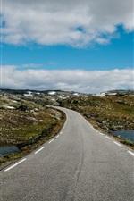 Road, hills, river, clouds, sky