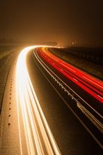 Preview iPhone wallpaper Road, light lines, night