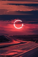 Preview iPhone wallpaper Road, sunset, Eclipse, beautiful drawing