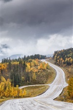 Preview iPhone wallpaper Road, trees, hills, clouds, autumn, dusk