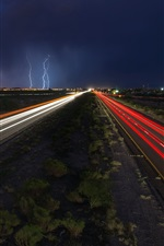 Roads, light lines, lightning, night