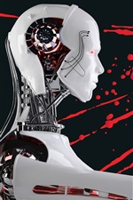 Preview iPhone wallpaper Robot, skull, blood, creative picture