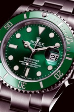 Preview iPhone wallpaper Rolex green submariner watch