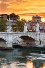 Preview iPhone wallpaper Roma, bridge, river, city, sunset