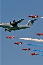 Preview iPhone wallpaper Royal Air Force, Red Arrows fighters, transport aircraft