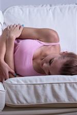 Preview iPhone wallpaper Sadness girl sleep on sofa