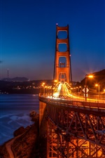 Preview iPhone wallpaper San Francisco, Golden Gate Bridge, night, lights, city, USA