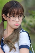 School girl, young, playful, glasses