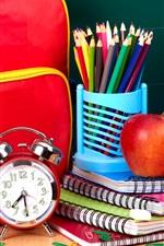 Preview iPhone wallpaper School satchel, alarm clock, notebook, colorful pencils, apple