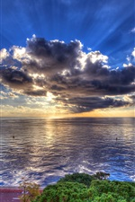 Preview iPhone wallpaper Sea, coast, clouds, sun rays, dusk