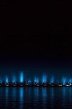 Mar, noite, barcos, luzes