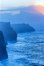 Preview iPhone wallpaper Sea, shore, cliff, clouds, fog, morning, sunrise