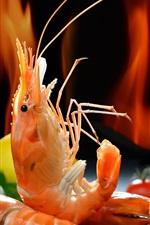 Preview iPhone wallpaper Seafood, shrimp, food
