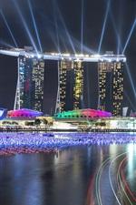 Singapore, beautiful lights, night city, buildings