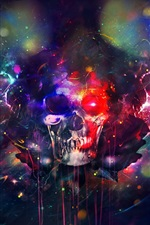 Preview iPhone wallpaper Skull, paint, colorful, bright, creative design