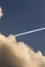 Sky, plane, tail, smoke, clouds
