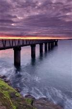 Preview iPhone wallpaper Slope, bridge, pier, sea, clouds, sunset