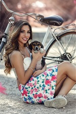 Preview iPhone wallpaper Smile girl, dog, bike