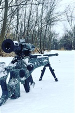 Preview iPhone wallpaper Sniper rifle, snow, trees, winter