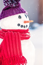 Snowman, scarf, hat, snow, winter, New Year