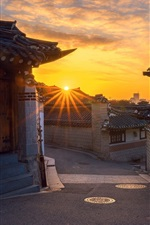 Preview iPhone wallpaper South Korea, Seoul, old town, morning, sunrise