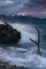 Preview iPhone wallpaper Southern Alps, New Zealand, Lake Ohau, waves, stones, clouds, morning