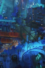Preview iPhone wallpaper Space Station, abstract art painting