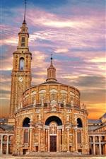 Preview iPhone wallpaper Spain, Asturias, church, buildings, dusk