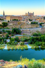 Preview iPhone wallpaper Spain, Toledo, beautiful city, river, houses