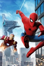 Preview iPhone wallpaper Spider-Man: Homecoming, Iron Man