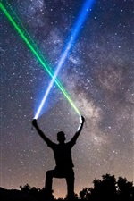 Preview iPhone wallpaper Starry, night, man, lightsaber