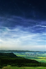 Preview iPhone wallpaper Starry, sky, forest, fields, town, beautiful landscape