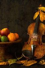 Preview iPhone wallpaper Still life, violin, fruit, apple, orange, lemon