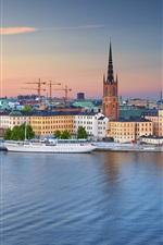 Estocolmo, cidade velha, iate, rio, anoitecer, Suécia
