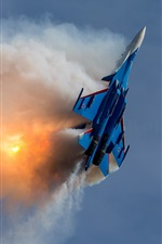 Preview iPhone wallpaper Su-30SM multirole fighter aircraft, flight, fight, smoke