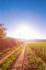 Preview iPhone wallpaper Sunrise, path, field, wire, sun, blue sky, glare