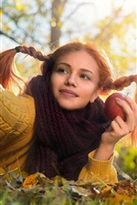 Preview iPhone wallpaper Sweater girl, rest on ground, leaves, scarf, apple, autumn