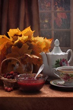 Tea, jam, berries, maple leaves, still life, window