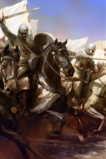 Preview iPhone wallpaper Templar, knight, armor, horse, attack, art picture