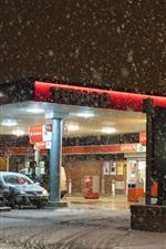 Estação de gás Texaco, inverno, nevado, noite, luzes