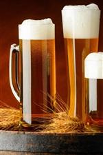 Preview iPhone wallpaper Three cups beer, foam, barrel