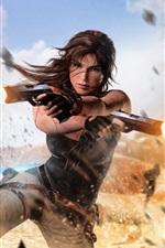Preview iPhone wallpaper Tomb Raider, Lara Croft, guns, explosions