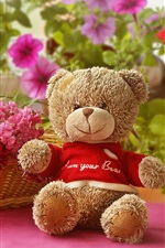 Preview iPhone wallpaper Toy bear, flowers, basket