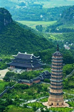 Preview iPhone wallpaper Trang An, Vietnam, mountains, trees, tower, buildings