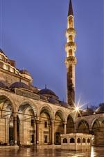 Turquia, Istambul, Mesquita Suleymaniye, arquitetura, noite da cidade