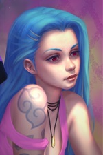 Preview iPhone wallpaper Two blue hair girl, League of Legends